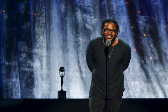 Musician Kendrick Lamar inducts N.W.A. at the 31st annual Rock and Roll Hall of Fame Induction Ceremony at the Barclays Center in Brooklyn, New York April 8, 2016. REUTERS/Eduardo Munoz