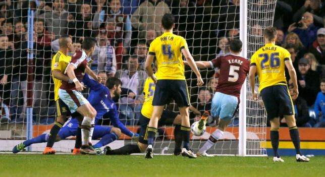 Football Soccer - Burnley v Middlesbrough - Sky Bet Football League Championship - Turf Moor - 19/4/16nBurnley's Michael Keane scores their first goalnMandatory Credit: Action Images / Jason CairnduffnLivepic