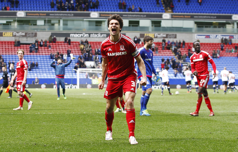 George Friend of Middlesbrough celebrates after the gamen on Saturday, April 16. Photo: Reuters