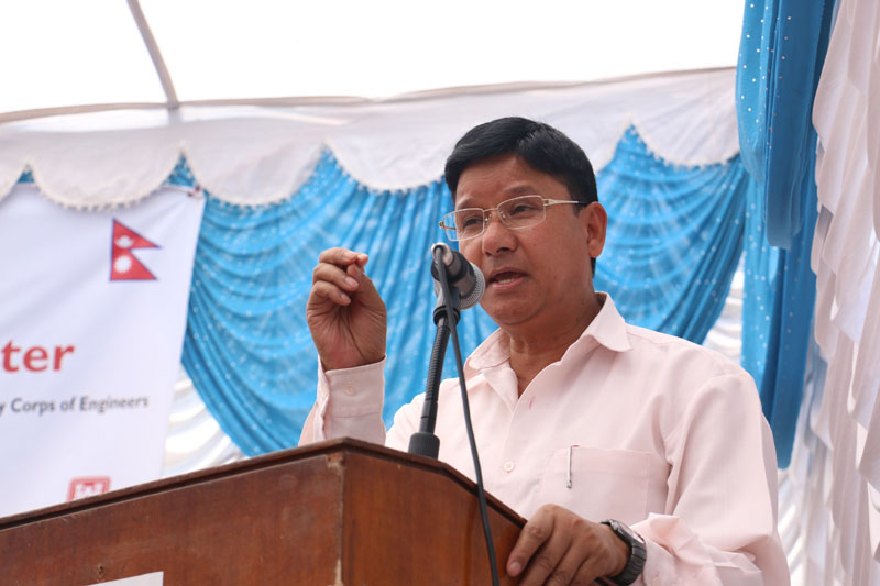 Minister for Health Ram Janam Chaudhary addresses at the publicising function of Barhabise Primary Health Centres Reconstruction Project  in Barhabise of Sindhupalchok district, on Tuesday, April 19, 2016. Photo: RSS