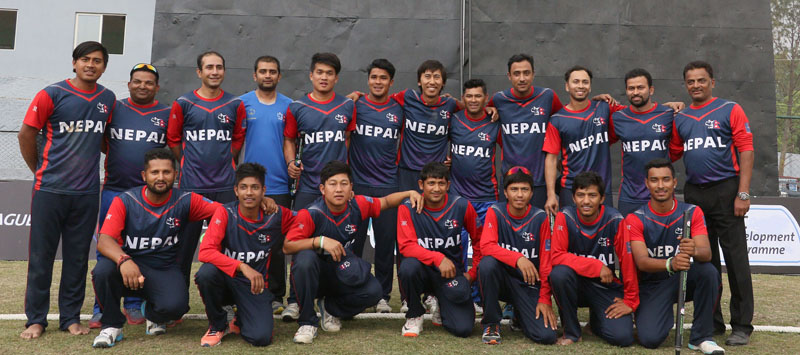 Nepali Cricket team pose for a photo after finishing the match against Namibia at the Tribhuvan University Cricket Stadium in Kirtipur on Monday, April 18, 2016. Photo: Udipt Singh Chhetry/THT