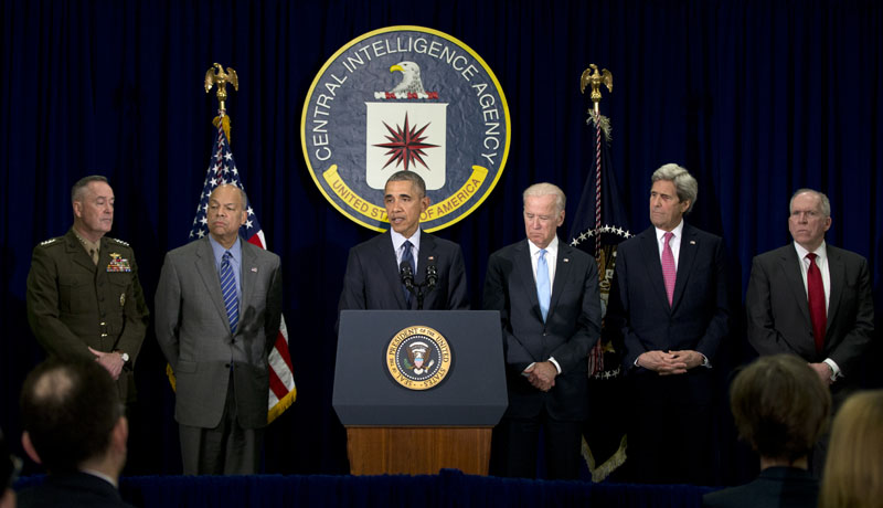 President Barack Obama, joined by (from left),  Joint Chiefs Chairman General Joseph Dunford, Homeland Security Secretary Jeh Johnson, Vice President Joe Biden, and Secretary of State John Kerry, and CIA Director John Brennan, speaks at the CIA Headquarters in Langley, Virginia, on Wednesday, April 13, 2016, after a meeting with his National Security Council. Photo: AP