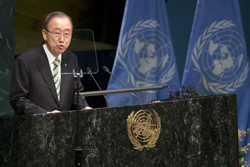 United Nations Secretary General Ban Ki-moon speaks during the Paris Agreement on climate change ceremony, on Friday, April 22, 2016 at UN headquarters. Photo: Mary Altaffer/AP