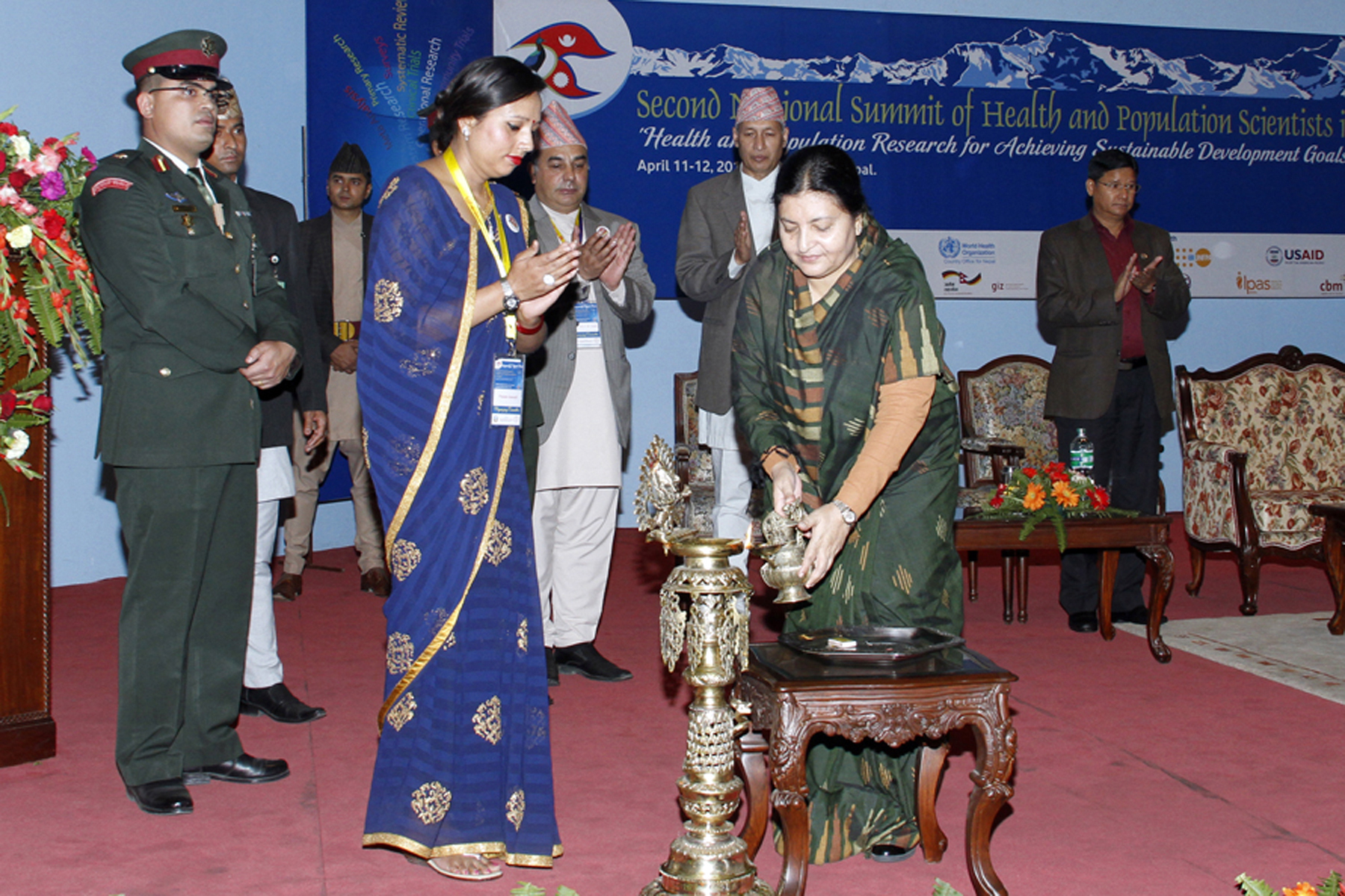 President Bidya Devi Bhandari inaugurating the Second National Summit of Health and Population Scientists in Nepal organised on the occasion of silver jubilee celebration of the Nepal Health Research Council, in Kathmandu, on Monday, April 11, 2016. Photo: RSS