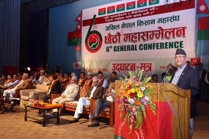 Prime Minister KP Sharma Oli addresses a function organised by his party's All Nepal Peasants' Federation, in Kathmandu, on Friday, April 8, 2015. Photo: RSS