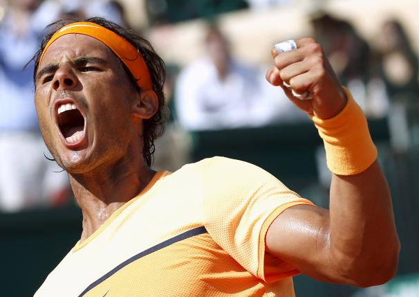 Tennis - Monte Carlo Masters - Monaco, 16/04/2016. Rafael Nadal of Spain reacts after winning his match against Andy Murray of Britain. REUTERS/Eric Gaillard