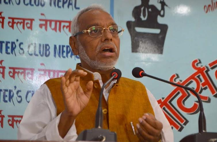 Sadbhawana Party Chairman Rajendra Mahato speaking at an interaction organised at the Reporters' Club in the Capital on Wednesday, April 13, 2016. Photo: Reporters' Club