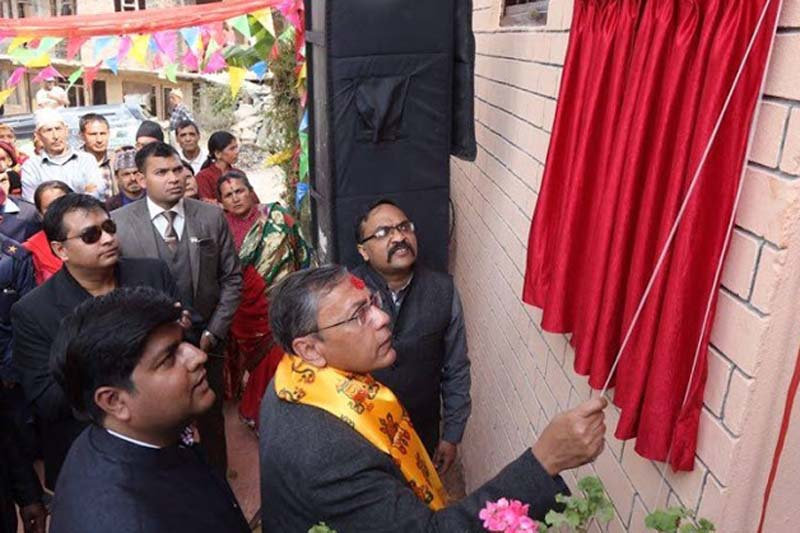 Indian Ambassador to Nepal Ranjit Rae inaugurates houses and buildings built for the earthquake victims by Modern Indian School Alumni Association (MISAA), in Taarkhal of Bhaktapur, on Sunday, April 3, 2016. Courtesy: MISAA