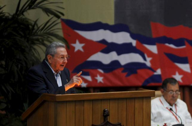 Cuba's President Raul Castro speaks during the opening ceremony of the seventh Cuban Communist Party (PCC) congress in Havana April 16, 2016. REUTERS/Omara Garcia/AIN/Handout via Reuters