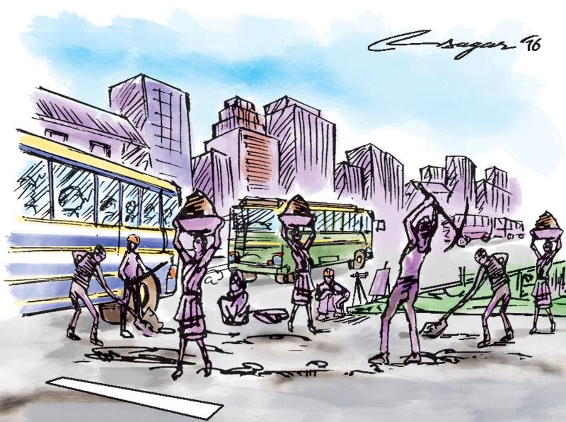Road construction. Illustration: Ratna Sagar Shrestha/THT