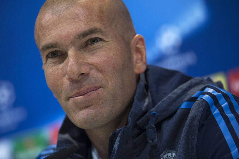 Real Madrid's head coach Zinedine Zidane listens to a question during a news conference at Real Madrid's Valdebebas training ground in Madrid, on Monday, April 11, 2016. Photo: Francisco Seco/AP