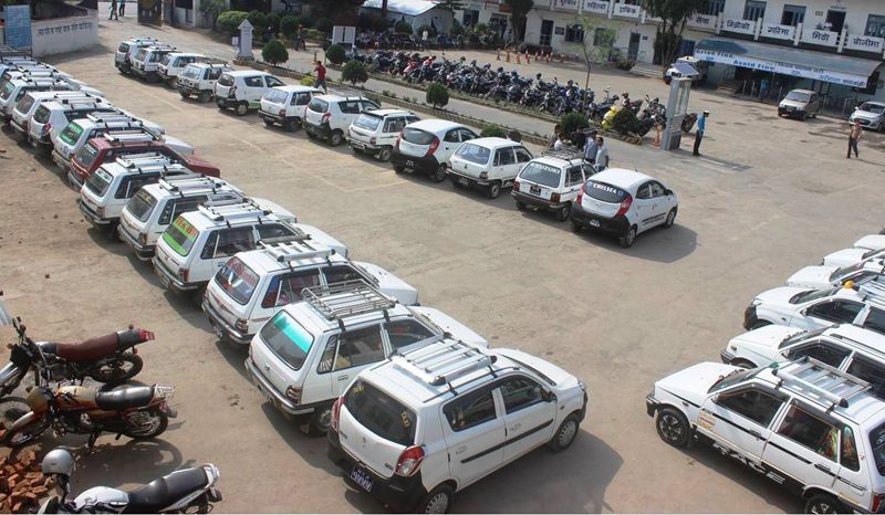FILE: Taxis impounded for not complying with the fixed fare rate, as pictured in Kathmandu, on Wednesday, April 20, 2016. Photo: RSS