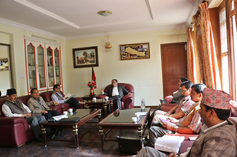 UCPN-Maoist leaders attend the party Standing Committee meeting at the party Chairman Pushpa Kamal Dahal's residence in Lazimpat on Thursday, 28 April 2016. Photo: Dahalu2019s Secretariat