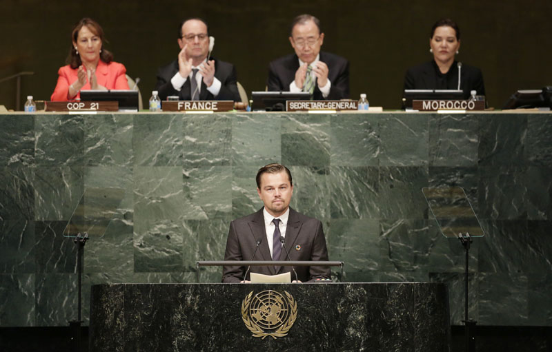 Actor Leonardo Di Caprio, a United Nations Messenger of Peace, speaks at the signing ceremony for the Paris Agreement on climate change, on Friday, April 22, 2016 at UN headquarters. Photo: Mark Lennihan/AP