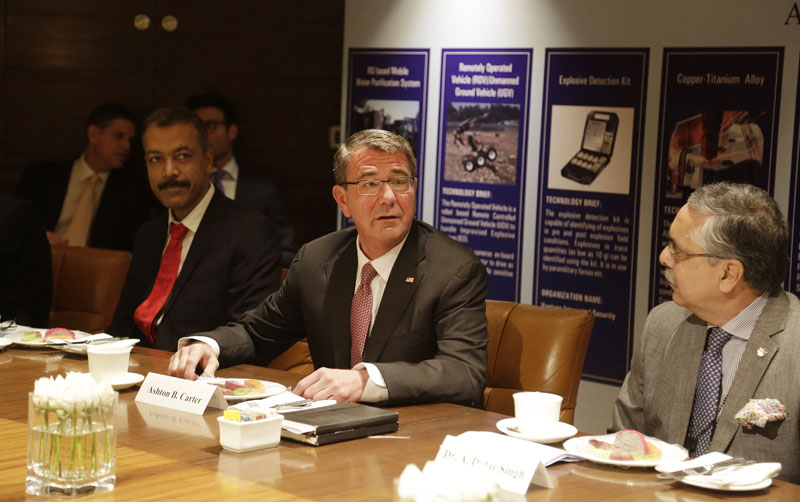 US Defence Secretary Ash Carter (centre) speaks at Innovation Roundtable organised by Federation of Indian Chambers of Commerce and Industry, in New Delhi, India, on Tuesday, April 12, 2016. Photo: AP