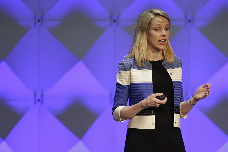 FILE - Yahoo CEO Marissa Mayer delivers the keynote address at the Yahoo Mobile Developer Conference in San Francisco, on February 18, 2016. Photo: Eric Risberg/AP