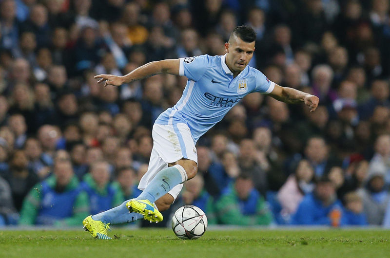 Manchester City's Sergio Aguero in actionn during UEFA Champions League against PSG at Etihad Stadium on Tuesday, April 12, 2016. Photo: Reuters