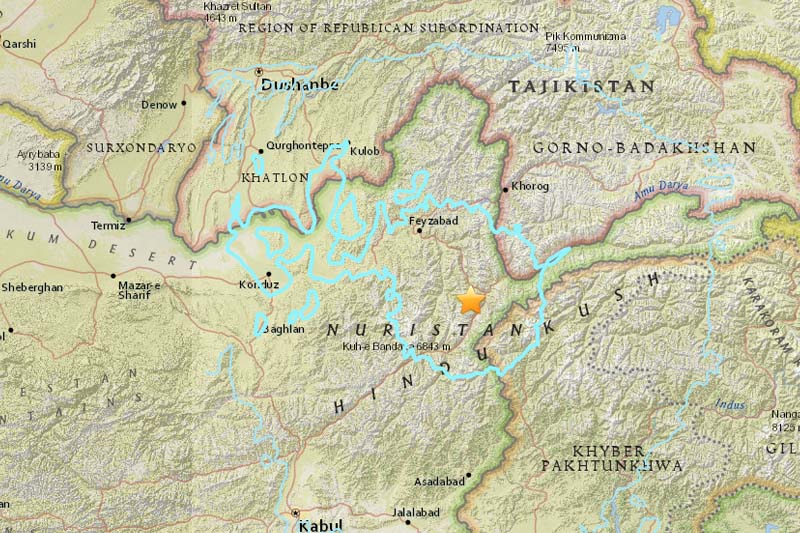 The epicentre of the earthquake that struck Afghanistan, on Sunday, April 11, 2016. Source: USGS