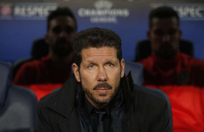 Atletico Madrid coach Diego Simeone before the match at Nou Camp on April 5, 2016. Photo: Reuters