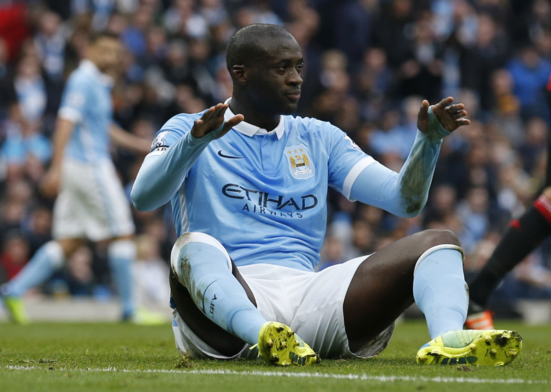 Manchester City's Yaya Toure reactsn during Barclays Premier League game against Manchester United at Etihad Stadium on March 20, 2016. Photo: Reuters