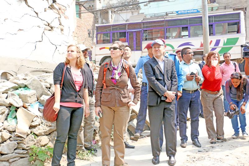 American ambassador to Nepal Alaina B. Teplitz, observe the earthquake damaged buildings in Barebise, Sindupalchok district on Tuesday, April 19, 2016. Photo: RSS