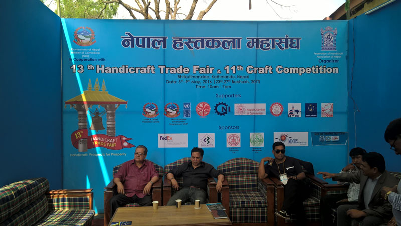 The members of Federation of Handicraft Associations of Nepal (FHAN) at Bhrikutimandap, kathmandu  on May 7, 2016. The FHAN organised five-day long 13th Handicraft Trade Fair and 11th Craft Competition that concluded on May 9, 2016 making business transaction of around Rs 60 million and attracting around 250,000 visitors during the course of the event. Photo: Sureis/THTOnline