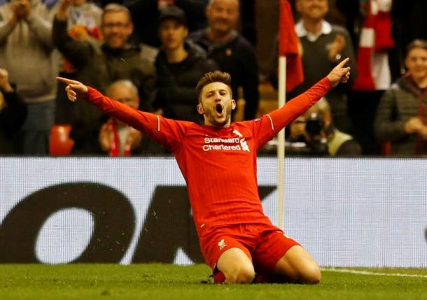 Britain Football Soccer - Liverpool v Villarreal - UEFA Europa League Semi Final Second Leg - Anfield, Liverpool, England - 5/5/16nAdam Lallana celebrates after scoring the third goal for LiverpoolnReuters / Phil NoblenLivepic