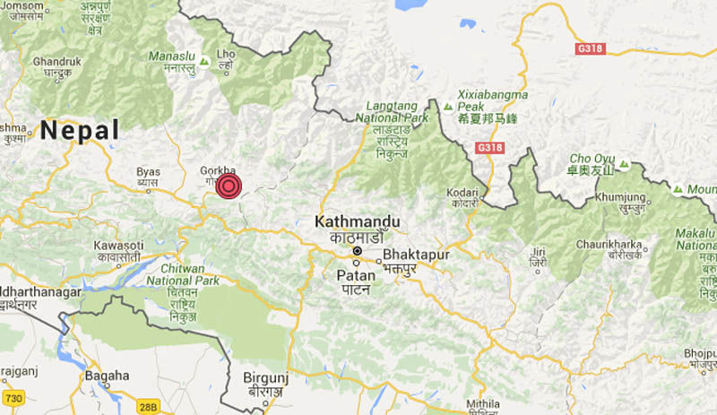 Aftershock in Taple of Gorkha on Wednesday, May 11, 2016.