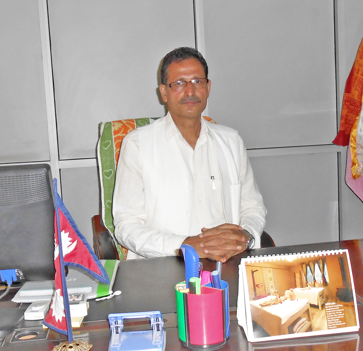 File - Minister for Forests and Soil Conservation Agni Prasad Sapkota, at his office in Singha Durbar, Kathmandu, on Tuesday, May 24, 2016. Photo: RSS