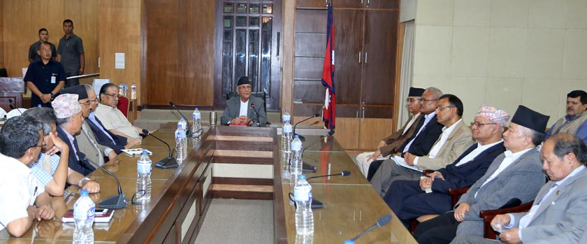 Leaders of ruling alliance and main opposition Nepali Congress taking part in an all-party meeting called by Prime Minister KP Sharma Oli in Singha Darbar on Tuesday, May 24, 2016. Photo: RSS