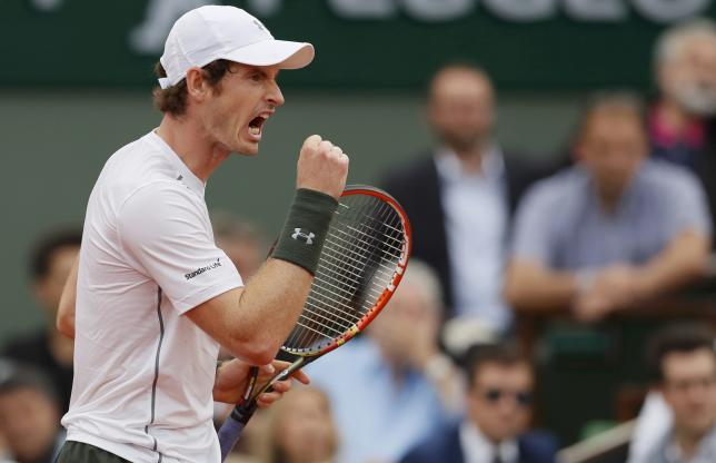 Tennis - French Open - Roland Garros - Mathias Bourgue of France v Andy Murray of Britain - Paris, France - 25/05/16. Murray reacts.   REUTERS/Gonzalo Fuentes