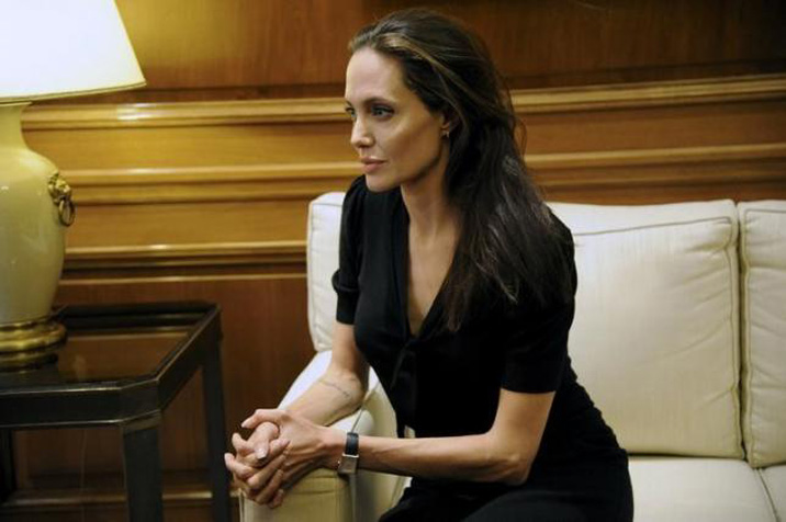 United Nations High Commissioner for Refugees (UNHCR) Special Envoy Angelina Jolie looks on as she meets Greek Prime Minister Alexis Tsipras at the Maximos Mansion in Athens, Greece, March 16, 2016. Photo: Reuters