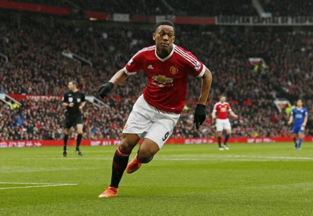 Britain Football Soccer - Manchester United v Leicester City - Barclays Premier League - Old Trafford - 1/5/16nAnthony Martial celebrates after scoring the first goal for Manchester UnitednAction Images via Reuters / Jason Cairnduff/ Livepic