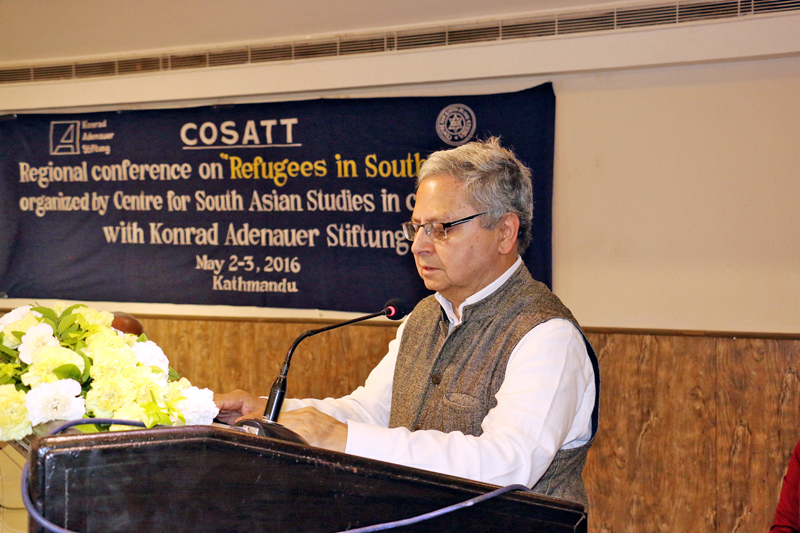 National Human Rights Commission Chief, Anup Raj Sharma speaking at a regional conference in Kathmandu, organised to address the refugee issue in South Asia, on Monday, May 2, 2016. Photo: RSS