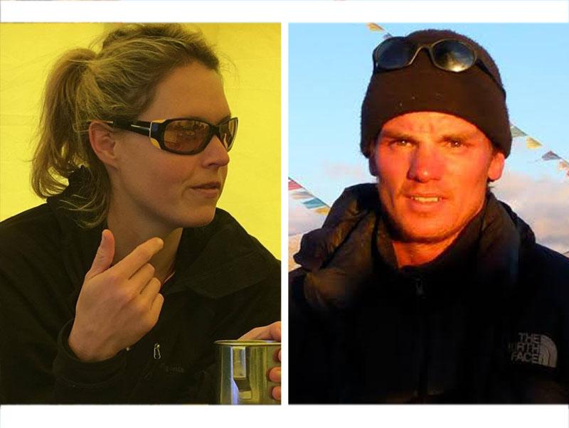 Australian climber Maria Strydom (left) and Dutch cllimber Eric Arnold