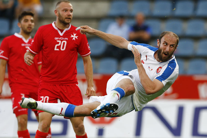 Roman Hubnik of Czech Republic scores during a friendly football match between Czech Republic and Malta in Kufstein, Austria, on Friday, May 27, 2016. Photo: AP