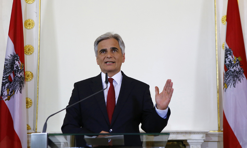 Austrian Chancellor Werner Faymann addresses a news conference in Vienna, Austria, May 9, 2016. Photo: Reuters