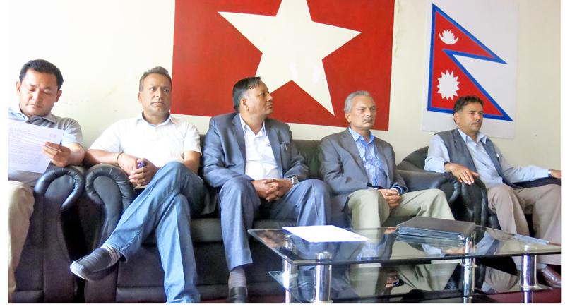 Leaders of Naya Shakti Nepal at a press meet at it's central office in Babarmahal of Kathmandu on Friday, May 20, 2016. Photo: RSS