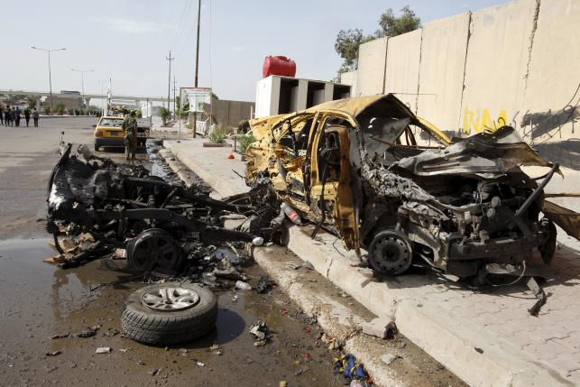 The remains of the car that exploded in the Saydiya district of southern Baghdad, Iraq May 2, 2016. REUTERS/Khalid al Mousily
