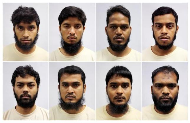 A combination of mugshots of Bangladeshi construction and marine industry workers - Islam Shariful (top L-R), Mamun Leakot Ali, Md Jabath Kysar Haje Norul Islam Sowdagar, Miah Rubel, Rahman Mizanur (bottom L-R), Sohag Ibrahim, Sohel Hawlader Ismail Hawlader and Zzaman Daulat - who were part of a radicalised group called the Islamic State in Bangladesh (ISB) detained in April under the Internal Security Act in Singapore in this handout photo released May 3, 2016.     Ministry of Home Affairs/Handout