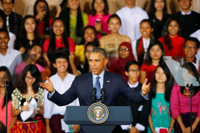 U.S. President Barack Obama delivers an address to members of the Young Southeast Asian Leaders Initiative in Yangon November 14, 2014.  REUTERS/Damir Sagolj