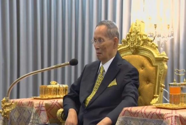 Thailand's King Bhumibol Adulyadej is seen attending a ceremony in Bangkok, Thailand December 14, 2015 in this still image taken from Thai TV Pool video. REUTERS/Thai TV Pool/Files