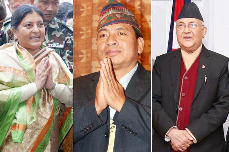 (From left) President Bidya Devi Bhandari, Vice-President Nanda Bahadur Pun and Prime Minister KP Sharma Oli. Photo: THT Online