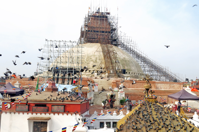 FBouddhanath Stupa, one of the World Heritage sites, undergoing reconstruction after being damaged by last year's devastating earthquake, in Bouddha of Kathmandu, on Friday, May 20, 2016. Photo: RSS