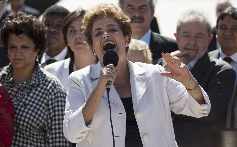 Brazil's President Dilma Rousseff speaks after leaving Planalto presidential palace in Brasilia, Brazil, Thursday, on May 12, 2016. Photo: Felipe Dana/AP