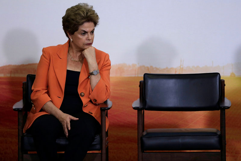 Brazil's President Dilma Rousseff reacts during a launch ceremony of Agricultural and Livestock Plan for 2016/2017, at the Planalto Palace in Brasilia, Brazil, on May 4, 2016. Photo: Ueslei Marcelino/Reuters