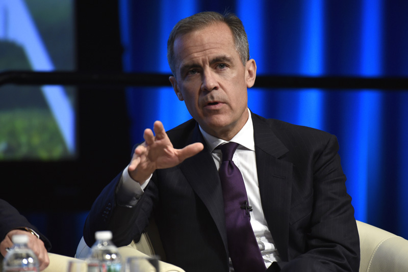 FILE - In this Thursday, April 14, 2016 file photo, Bank of England Governor Mark Carney speaks during the World Bank/IMF Spring Meetings at the World Bank in Washington. The Bank of England has voted to keep interest rates steady amid signs that the economy is beginning to falter and uncertainty over next monthu0092s vote on whether Britain should leave the European Union.  Photo: AP