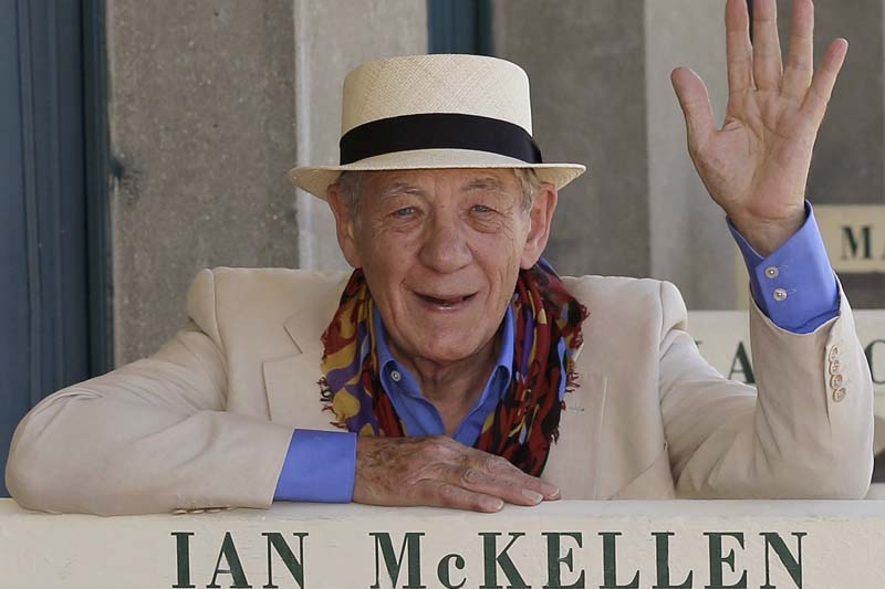 British actor Ian McKellen poses in front of beach huts on the Deauville promenade during the 41st American Film Festival in Deauville, western France, on September 10, 2015. Photo: AP/ File