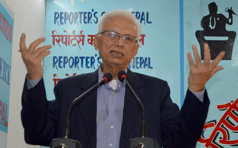 CPN-Revolutionary Maoist Vice-Chairman CP Gajurel speaking at an interaction organised at the Reporters' club in the Capital on Thursday, May 12, 2016.n
