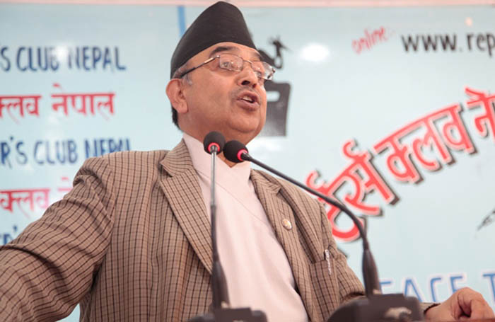 CPN-ML General Secretary CP Mainali speaks with journalists, in Kathmandu, on Wednesday, May 11, 2016. Photo: Reporters' Club
